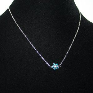 Dainty silver and blue flower necklace NWOT